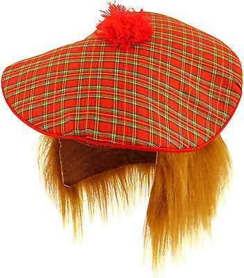 Tartan Hat and Ginger Hair Wig Tam O Shanter Scottish Scots Fancy Dress