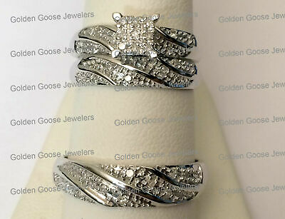 His Her Mens Woman Real Diamonds Wedding Ring Bands Trio Bridal Set