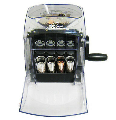 Royal Sovereign Q-S1 Manual Hand Crank 1 Row Coin Sorter - 400 Coin Capacity