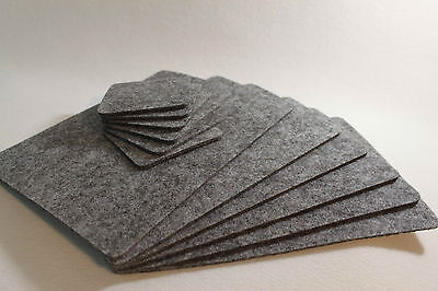 GREY Placemats & coaster Simple Shape Rectangle Felt Table Mats Set of 12 pieces