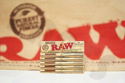 6 Packs Of Authentic Raw  Rolling Paper Organic Connoisseur King Size Slim+Tips