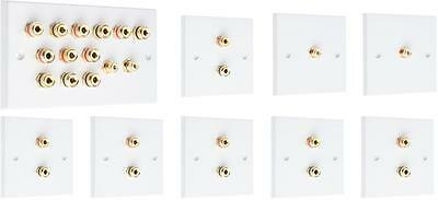 Complete 6.2 SOLDER-LESS  White Speaker Audio Wall Face Plate kit Banana Plugs