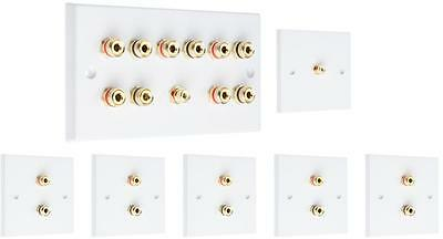 Complete 5.1 SOLDER-LESS  White Speaker Audio Wall Face Plate kit Banana Plugs