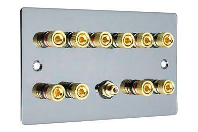 5.1  Flat Plate Polished Black Nickel/Gun Metal Speaker Audio Wall Face Plate