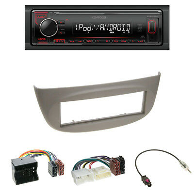 Kenwood KMM-204 USB Radio + Renault Twingo Wind Blende grau + Adapter + Antenne