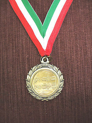MUSIC notes medal award red white and green neck drape