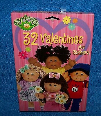 Valentines Day Cards (Box of 32) Cabbage Patch Kids plus Stickers