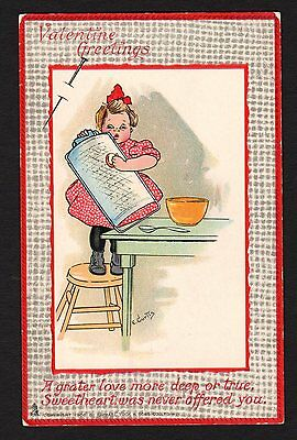 "Valentine Postcard Signed Curtis, Tuck's ""Love's Labor"" child holding grater1908"