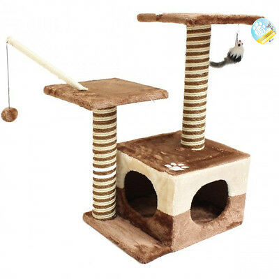 Me & My Pet Cat/kitten Play Tree & Scratcher Activity Centre/station Brown/beige