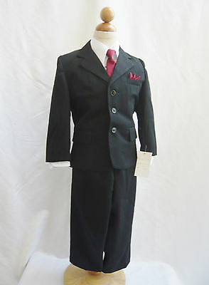 Boy Toddler Teen Black With Red Tie Ring Bearer Bridal Party Tuxedo Formal Suit
