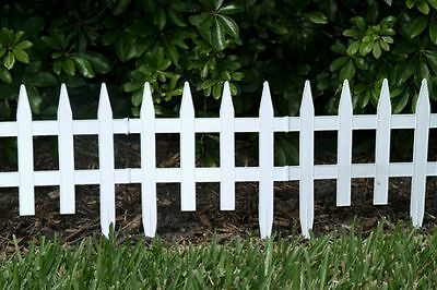 Classic  Picket Fence - White - Garden Fencing-Lawn Edging-Lawn and Garden Fence