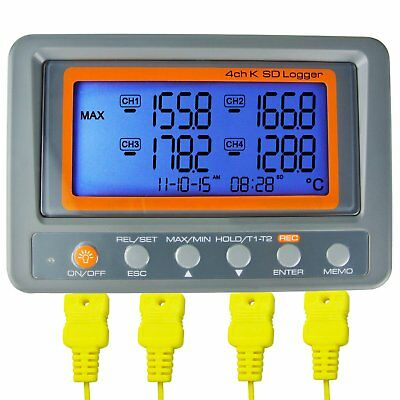 K TYPE THERMOCOUPLE 4 Channel -328~2498°F °C Temp 2GB SD Card Logger Thermometer