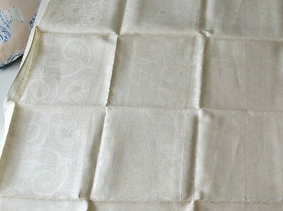 Beautiful Belgian Linen Vintage Tablecloth With 4 Napkins- Nwt Aa55