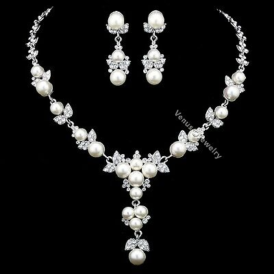 Floral Rhinestones Crystal Pearls Bridal Wedding Prom Necklace Earrings Set N338