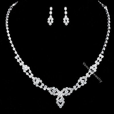 Bridal Wedding Jewelry Prom Rhinestone Crystal Necklace Earrings Set N342