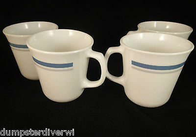 4 Blue gray stripe D handle Pyrex Corning Corelle Coffee mugs cups vintage