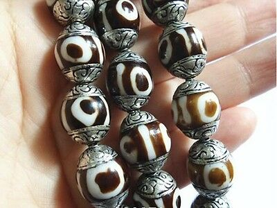 Wholesale 10 Comparatively Big Sterling Silver Repousse 3-eye Dzi Amulet Beads