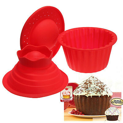 DIY Silicone Jumbo Giant Big Top Birthday Cupcake Cup Cake Mould Mold Baking