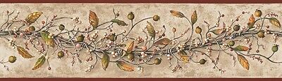 Berries Twigs Vines Fresh Country Wallpaper Border | Deep Red Trim | HK4669BD