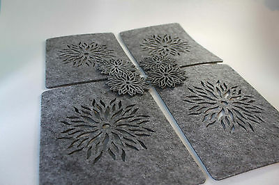 GREY Placemats and Coaster Flames Aster Flower Felt Table Mats Set of 8 pieces