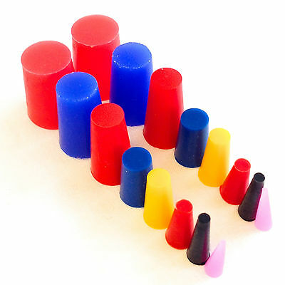 "16 Piece High Temp Silicone Rubber Tapered Plug Kit - 8 Sizes From 1/16"" To 3/4"""