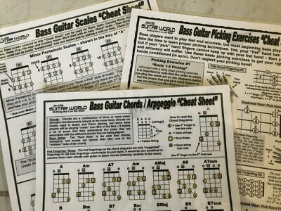 Bass Guitar Charts 2 Sided Bass Guitar Reference Guides Bundle Of