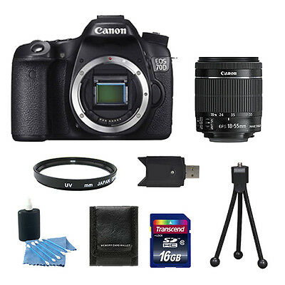 Canon EOS 70D Digital SLR Camera + 18-55 mm IS STM Lens + 16GB Accessory Kit NEW