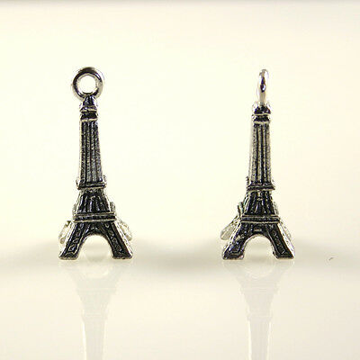 Eiffel Tower - 5 Silver Tone Lead-Free Pewter Charms
