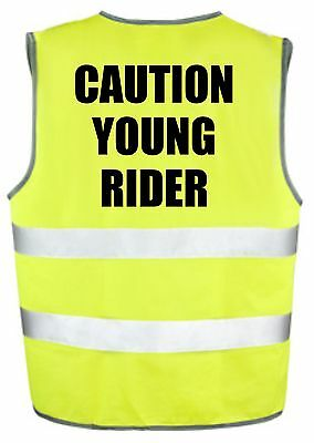 CAUTION YOUNG RIDER - Kids Hi Viz Safety Vest Cycling Horse Riding Equestrian