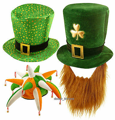 Irish St Patricks Day Hat Fancy Dress Jester Top Hat Ginger Beard Leprechaun