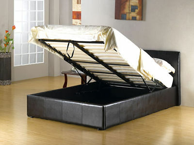 Storage Ottoman Gas Lift Black & Brown Double Single & 4Ft Leather Bed  Mattress