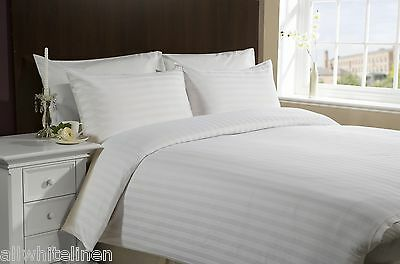 Hotel 50/50 Easycare Polycotton White Satin Stripe Duvet Cover Set & Pillowcases