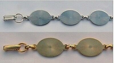 Lot of 5 BRACELET Blanks Forms (4 SILVER + 1 GOLD) 6 OVAL PADS 20mm per bracelet