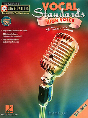 Vocal Standards High Voice Jazz Play-Along Vocal Music Book & Sing-Along CD