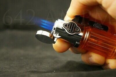 Triple Jet Torch Adjustable Flame Windproof Butane Refillable On Lock Lighter