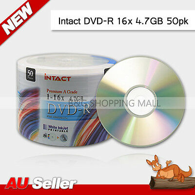 AU Blank DVD-R 4.7GB Media 16x Hub Printable 50 pcs Xcopy DVD Spindle Disc