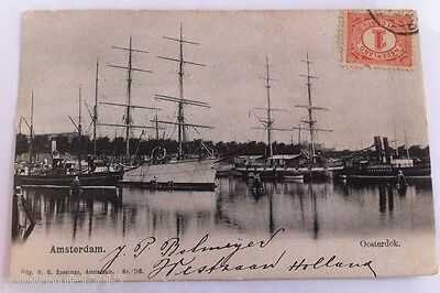 CPA Speelman postcard ships voiliers port Oosterdok AMSTERDAM Holland Pays Bas A