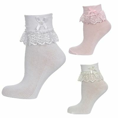 Baby Girls Frilly Lace Pearl Bead Trim Cotton Ankle Party Socks Pink White Cream
