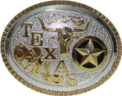 Texas Lone Star Gold and Silver Star and Longhorn Belt Buckle