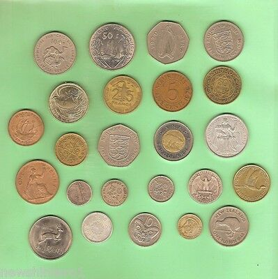 #d96.  24 World Coins Plus Cased 1986 Cook Island Dollar