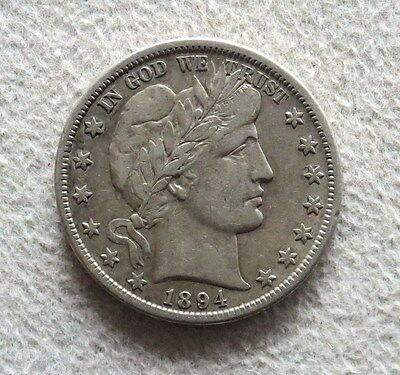 1894 -S Silver Barber Half Dollar Coin Extremely Fine Condition