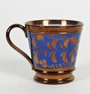 19Th C Antique Copper Lustreware Tapered Mug With Blue Band