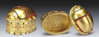 Ancient Egyptian Myth Legend Golden Scarab Beetle Trinket Small Jewelry Box Cool