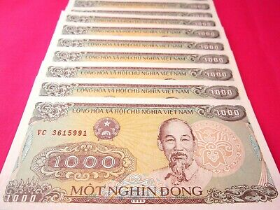 Vietnam Paper Money 10 PCS Bundle 1000 Vietnamese Dong Each Viet Nam Currency