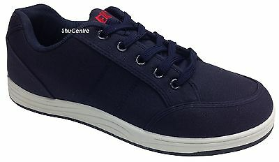 New Men's Navy Lace Up Comfortable Summer Canvas Trainers Shoes Casual Everyday