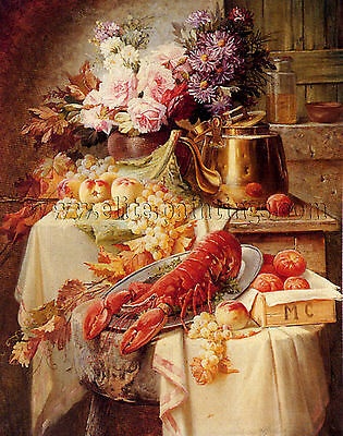 Carlier Max Still Life Lobster Assorted Fruit Flowers quadro dipinto a olio