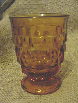 COLONY INDIANA GLASS WHITEHALL AMBER PATTERN FOOTED TUMBLER GLASS 4-3/8 TALL EUC