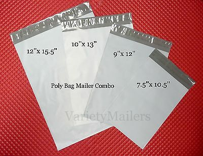 64 Poly Envelope Bag Assortment, 4 Popular Sizes, Self-Sealing Shipping Mailers
