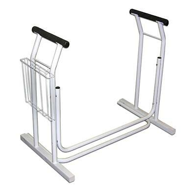 Rust Resistance Heavy Duty Steel Standing Toilet Safety Rail Supports 300 lbs.
