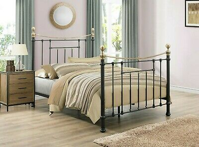 Classic Vintage Victorian Style Metal Bed 4FT6 and 5FT Antique Brass Finials